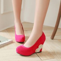 67.59$  Buy now - http://alip25.worldwells.pw/go.php?t=32665320159 - 2016 Design Appliques Wedges Women Pumps Elegant Pure Color Round Toe Shoes Big Size 35-43 Office Dating Ladies Shoes