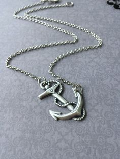 Sideways Anchor Necklace Silver Anchor Pendant Layering