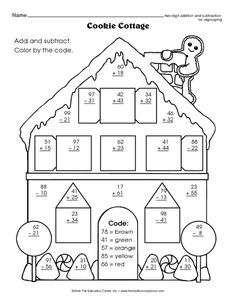 Cookie Cottage, Lesson Plans - The Mailbox Addition And Subtraction Practice, Math Addition, 1st Grade Worksheets, School Worksheets, Math Games, Math Activities, Colegio Ideas, Cookie Cottage, Third Grade Math