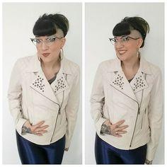 White leather jacket #duragoleather #whiteleather #undercut #girlswithundercuts