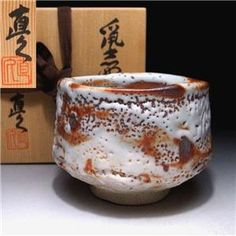 Vintage Japanese Tea bowl, Shino ware by Famous Potter, Naohisa Kato made by a famous potter, Naohisa Kato about years ago Ceramic Design, Ceramic Art, Chawan, Paper Basket, Japanese Pottery, Tea Bowls, Tea Ceremony, 40 Years, Vintage Japanese