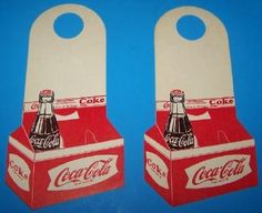 VINTAGE COCA-COLA 2 BOTTLE NECK ADS PICTURES BOTTLE IN A CARRIER