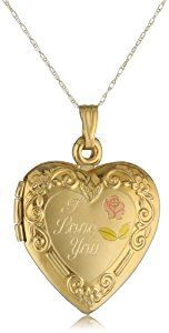 """Duragold 14k Yellow Gold """"I Love You"""" Heart Locket with Pink Rose Pendant Necklace, 18""""  http://electmejewellery.com/jewelry/necklaces/lockets/duragold-14k-yellow-gold-i-love-you-heart-locket-with-pink-rose-pendant-necklace-18-com/"""