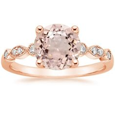 14K Rose Gold Tiara Diamond Ring, top view