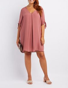 Charlotte Russe Plus Size Tie-Sleeve Shift Dress Casual Outfits For Work Office Wear, Office Dresses For Women, Ladies Day Dresses, Girly Outfits, Plus Size Dresses, Short Dresses, Africa Dress, Maternity Dresses, Maternity Wear