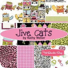 Jive Cats Fat Quarter Bundle Kathy Weller for Northcott Fabrics