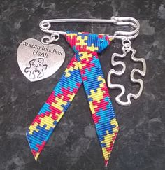 Autism Touches Us All Awareness Ribbon kilt pin brooch, bag charm - handmade in Jewellery & Watches, Costume Jewellery, Brooches & Pins | eBay
