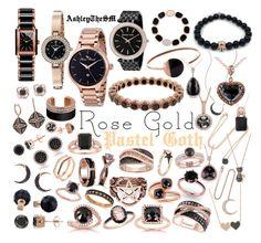 """Rose Gold Pastel Goth 🥀"" by ashleythesm ❤ liked on Polyvore featuring Kobelli, Auriya, Lucien Piccard, SOPHIE MILLER, Sydney Evan, Pamela Love, Pomellato, Andrea Fohrman, Lana and FOSSIL"
