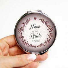 Mum of the Bride wedding pocket mirror red