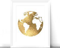 Golden globe gold foil world map printable wall art decor instant gold foil world map printable large gold foil print gold gumiabroncs Images