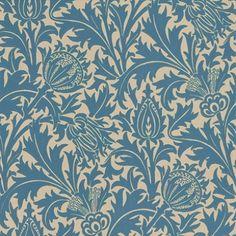 Linen / Indigo - DMOWTH102 - Thistle - Morris V - Morris & Co Wallpaper