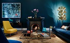 #bluewall #inspo #petrol #interior #livingroom