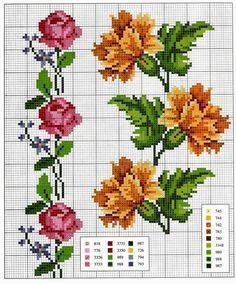 Ricami e schemi a Punto Croce gratuiti: Schemi a punto croce: Cornici e bordi con fiori colorati