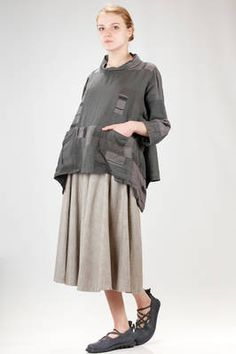 Sark Studio | hip length blouse in patchwork of vintage fabric of cotton, silk and linen | #sarkstudio