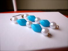 Ivory Pearl Beaded Blue Drop Earrings for Preppy by ApachesWife, $6.00