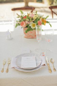 Peach and gold place setting.