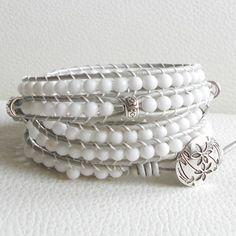 White Jade Leather Wrap Bracelet , Leather Wrap Bracelet | LunaArt - Jewelry on ArtFire