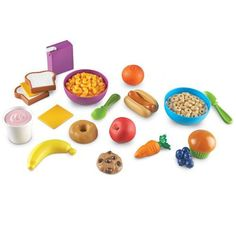New Sprouts Munch It Food Set is a top toy in our house, this is a toy our 5 year old loves! Outdoor Toys For Toddlers, Fresco, Bowls, Play Food Set, Sprout Recipes, Yogurt Cups, Slice Of Bread, Imaginative Play, Learning Resources
