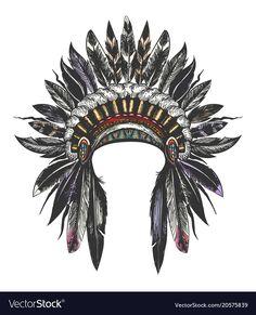 Native american indian war bonnet vector image on VectorStock Native American Tattoos, Native Tattoos, Native American Headdress, Wolf Tattoos, Feather Tattoos, Native American Indians, Body Art Tattoos, Sleeve Tattoos, American Indian Art