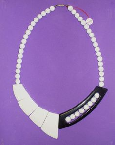 Vintage 80's Black and White Plastic Necklace by SHOPHULLABALOO, $14.99
