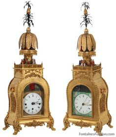 SOLD $332,750 - Rare 2 Sided Chinese Animated Bracket Clock. One side of the clock has a Chinese theme with a 6 in. porcelain dial with colorful porcelain surrounding, elegant gilt pierced brass hands and sweep seconds hand, the arch above the dial has a pierced decorated and painted rainforest scene with 13 spiral glass rods spinning to resemble falling rain. The other side of the clock has a Western theme with 6 in. porcelain dial, pierced filigree corner spandrels, black pierced hands and…