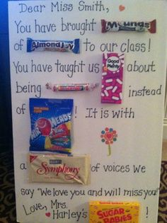 ...a candy bar card for a student teacher who is leaving!