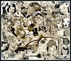 Collage: Retro anuncios pin-up | Wallpaper vintage
