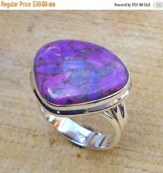 Sterling Silver Ring Purple Turquoise Ring by Vedkadesigns on Etsy