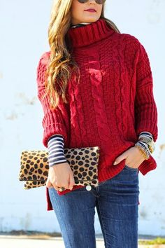 Sweater:  Chicwish  c/o | Turtleneck:  J.Crew  | Jeans:  7 FAM  | Clutch:  Claire Viver  | Watch:  MK  | Bracelets:  Stell...