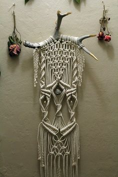 Macramé Wall Hanging on Deer Antlers with Crystals and Pyrite