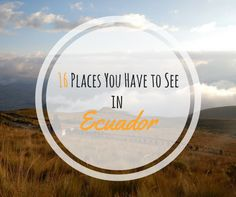 """16 Places You Have to See in Ecuador From my section """"Places you Have to See"""" I would like to present to you Places You Have to See in Ecuador. Ecuador is a very versatile place, no matter if you like hiking, hanging out on the beach, colonial architecure, jungle trekking, observing wildlife or traditional markets, Ecuador has it all. This time the post will be a little different. Instead of just listing you the Places You Have to See in Ecuador I also collected the best blog posts ..."""