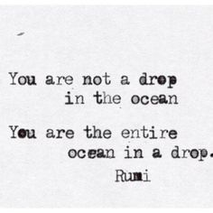 You are not a drop in the ocean, you are the entire ocean in a drop. -Rumi