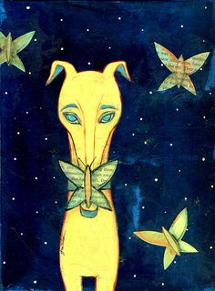 dog and butterfly  print of original art by thegretchenshow, $25.00
