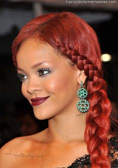 Red head Rihanna rocking Full lace with side braid tosin adegbola onto hair hair and moreee hair Rihanna Hairstyles, French Braid Hairstyles, Celebrity Hairstyles, French Braids, Red Hairstyles, Dutch Braids, Ponytail Hairstyles, Goddess Hairstyles, African Hairstyles