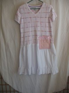 Sweet cotton dress, pink and white, loose comfy tunic dress with ruffles.   The top is a vintage cotton knit sweater with a pastel check