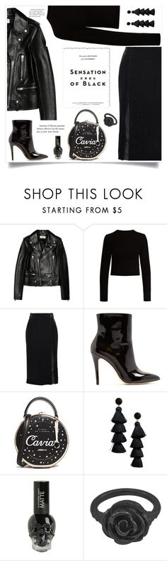 """Black"" by mariaangeles-g ❤ liked on Polyvore featuring Yves Saint Laurent, Proenza Schouler, Saloni, AlexaChung, Kate Spade, Vision, BaubleBar, Hot Topic, LeiVanKash and allblackoutfit"