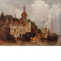 """Seaside Town"", Oil on Canvas, c.1870"