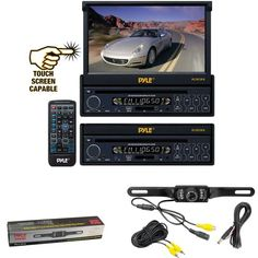 Vehicle Receiver and Rear View Camera Package  PLTS73FX 7 Single DIN InDash Motorized Touch Screen Digital TFTLCD Monitor w DVDCDMP3MP4USBSDAMFM Radio Player  PLCM10 License Plate Mount Rear View camera wNight Vision for Car Van Truck Bus Mobile etc ** Check this awesome product by going to the link at the image.