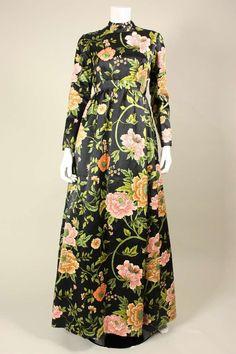 1960's George Halley Satin & Cut Velvet Floral Gowl image 3