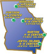Georgia map showing locations of the five 4-H Centers.