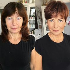 Brown Pixie With Bangs For Older Ladies frisuren feines haar vorher nachher 9 Hair Stylist's Tips for Looking Younger Trendy Haircut, Haircut For Older Women, Haircut Short, Short Bangs, Pixie Pony, Short Wavy Pixie, Edgy Short Hair, Edgy Pixie, Pixie Cuts