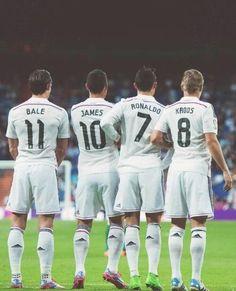 Gareth Bale, James Rodriguez, Cristiano Ronaldo, Toni Kroos - don't like Real Madrid but these guys are amazing!