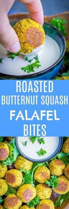 These Roasted Butternut Squash Falafel Bites are the perfect healthy and delicious appetizer! They're great for fall and easy to make too! Gluten free, vegan