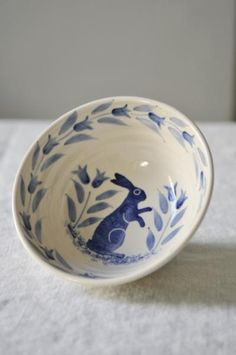 Hand-decorated blue hare bowl from Scandinavian Interiors Ceramic Bowls, Ceramic Pottery, Ceramic Art, Stoneware, Blue And White China, Blue China, Love Blue, Blue Dishes, White Dishes