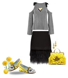 """A touch of yellow"" by no-where-girl ❤ liked on Polyvore featuring Polo Ralph Lauren, Topshop, Chiara Ferragni, Kenneth Jay Lane and Edie Parker"