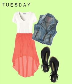 Glam up your plain white tee! A studded vest and a pretty high-low skirt are perfect for a day of shopping