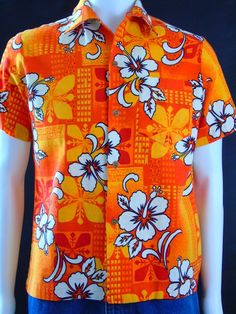 Vintage 60s Royal Hawaiian Barkcloth Aloha Surf Shirt Mod G.V.H Print Size M   #RoyalHawaiian #ButtonFront