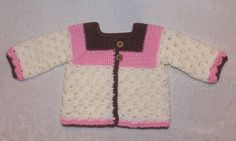Pink Brown Cream Crochet Baby Sweater Baby by sweetpeacollections