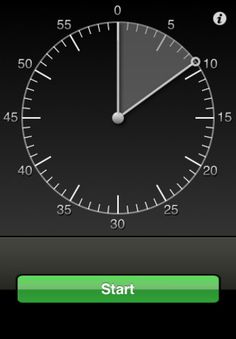 VisualTimer ($0.99) is a 60 minute timer with a graphical display. To get started, just touch and drag the meter to the desired time and hit the Start button. It's that easy!    Features:  - Play a sound and/or vibrate when the timer expires  - Play a sound and/or vibrate at specific intervals while the timer is running (every minute, every 5 minutes, etc.)  - Change the color of the visual indicator based on the % of time remaining  - clockwise or counter-clockwise