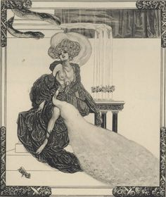 Leda's younger sister, Freda, believed the peacock when he told her who he was.... (Franz von Bayros (1866-1924)